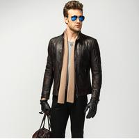 THOOO MAN imported vegetable tanned GENUINE leather sheepskin leather thin section machine wagon jacket