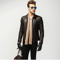 THOOO MAN imported vegetable tanned GENUINE leather sheepskin leather thin section machine wagon jacket