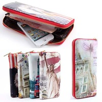 Europe PU Leather Clutch Wallet Zip Around Long Wristlet Coin Card Holder JX0321 For Freeshipping