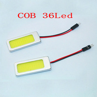 6PCS 52MM*22MM 36SMD COB Chip 36LED Car Reading Light Festoon Dome Lamp Panel Bulb with frame with Festoon & T10 Adapter