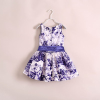 Girls Dresses 2013 New Fashion Top Quality Purple Sleeve Flower Kids Girl Dress with Belt summer 1pc F30-64