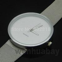 2014 Fashion Silver Metal Net Mesh Band White Dial Men Sports Watches Full Steel Quartz Watch Male Wristwatches Clock Gift Q1002
