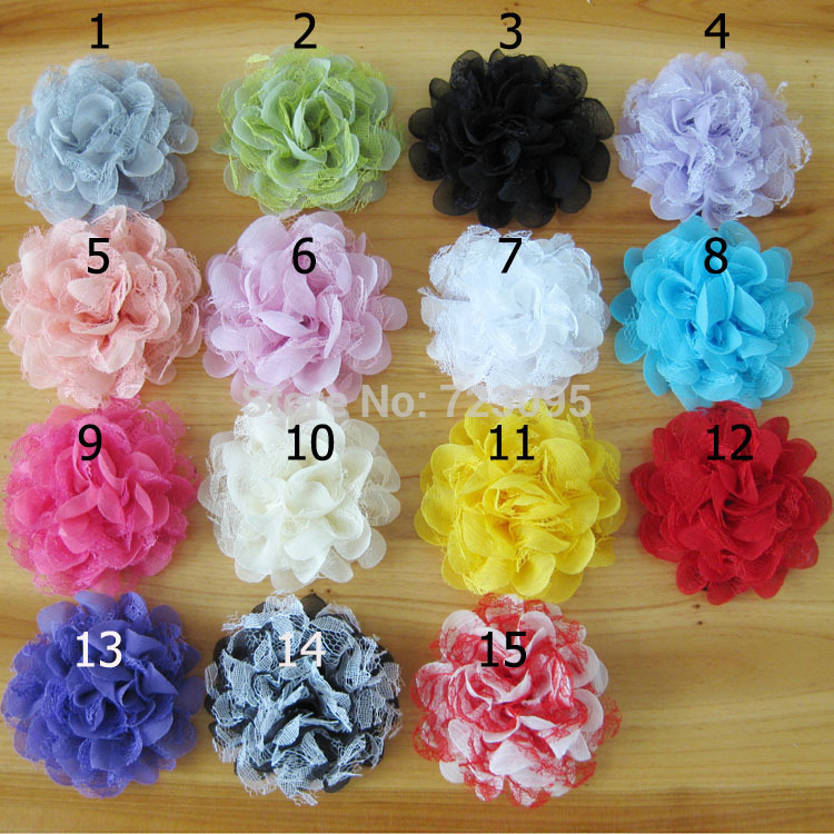 45pcs 10cm Satin with Yarn Puff Flowers Appliques for Boutique Hedaband/Hair Bows/Wedding Dressing Decoration Mixed 15 Colors(China (Mainland))