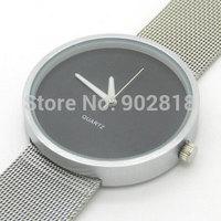 2014 Fashion Silver Metal Net Mesh Band Black Dial Men Sports Watches Full Steel Quartz Watch Male Wristwatches Clock Gift Q1001