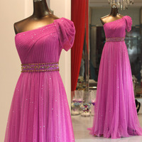 Real image Fabulous  One-shoulder Sequins  Beadig 2014 Evening woman dresses Gowns prom gowns celebrity dresses custom made 2015