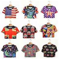 sexy harajuku girl t-shirts tee shirt women clothing punk crop top desigual US UK flag skulls 3D print cross short tos