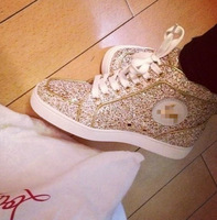 2014  red bottom sequins fabric with genuine Leather women flat low top sneakers pink beige blue color lace-up shoes