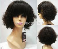 100% Human Hair Medium length Curly Dark Brown Elegant Hair Wigs machine cap with MONO TOP