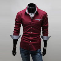 Free shipping 2014 Fashion Brand Men's Clothing Long Sleeve Shirt Solid Color With The Yarn Dye Plaid Interior Band MT111