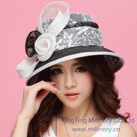 Free Shipping Women Dress Hats for Women Sinamay Hat Sinamay Rose Lace Bow Women Hat Sun-Shading Fashion Summer Sun Hat