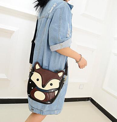 2013 New Women Ladies Retro Shoulder Bag Fashion Messenger Bags Cute School Tote Fox PU Handbags Free Shipping F357(China (Mainland))