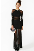 Free Shipping Long Gown Sexy Shadow Stripe Maxi Dress Summer Style Women Evening Dress women 2014
