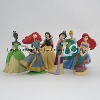 Free Shipping Princess Snow White Ariel Cinderella Merida PVC Action Figures Model Toys Dolls 6pcs/set Christmas Gifts