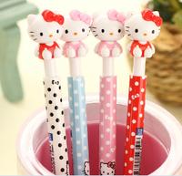 10 pcs/lot New Cute Cartoon Hello Kitty Ballpoint Pens Plastic Kawaii Ball pen Stationery Wholesale Gifts Free shipping