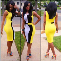 Hot Sale! New 2014 Ladies Patchwork Dress Evening Fitted Formal Party Ladies Pencil Bodycon Dress