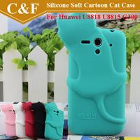New 3D Cute Cartoon Cat Soft Silicone Back Cover Case For Huawei G300 U8818 U8815 + Free shipping