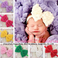 Free Shipping! Hot sale 10Colors Elastic Rose Flower Baby Bowknot Hairband Infant Baby Photo Props Hair Accessory 20pcs TS-14079