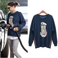 2014 women's Cotton loose o-neck sweatshirt zip hooded cartoon printed  hoodies coat  ladies  Autumn and winter Free shipping