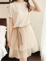 Summer 2014 new short-sleeved chiffon dress Slim dress Piece fitted bottoming