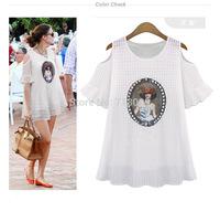 2014 new summer European printed loose woman fashion chiffon blouse ZY 8936
