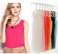 2014 New Fashion Summer Women's Chiffon Sleeveless Solid Candy Color Causal Chiffon Slouse Shirt Lady Tops
