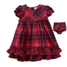 Free Shipping Newborn Baby clothing Dress With brief 2-pieces Red Plaid Cotton Infant wear short-sleeve Cute Girl Dress   Gift(China (Mainland))