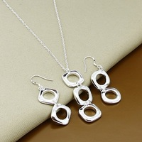 promotion sale, wholesale fashion  jewelry, 925 Sterling Silver jewelry,925 silver necklace + earrings jewelry set