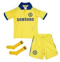 2015 Chelsea away yellow Kids youth Full Set (jersey short sock) ,14/15 Chelsea boys girls jersey LAMPARD HAZARD TORRES Custom