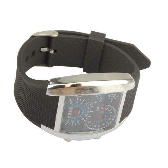 Best Watches LED Blue Digital Light Watch Binary Matrix Aviation Men's Sport Wristwatch Black BS88(China (Mainland))