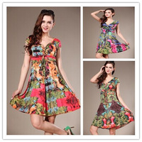 Drop shipping 2014 summer fashion New European American Style sexy Bohemian V neck  long  print dress