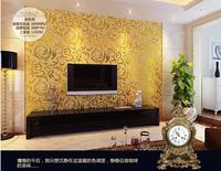 Rococo wallpaper modern stripe solid color flock printing non-woven wall paper papel de parede tapete bedroom room renovator