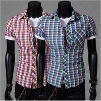 2014 Time-limited Short Twill Casual Shirts New Men's Casual Cotton Plaid Short-sleeved Shirt Men 2 Color Wholesale And Retail