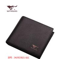 2014 new arrival Men's wallet purse genuine leather material black/brown septwolves leather purse wallet for men