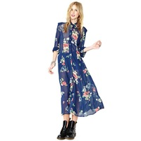 HD210 New 2014 summer women's clothing printing flowers navy chiffon full sleeve turn-down collar Mid-calf dresses Plus size XXL