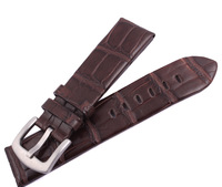 22 mm BROWN Genuine Leather American Crocodile pattern Watchband Wrist Belt Dull Polish Silver Buckle For Montb Free Tool