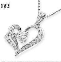 Wholesale charming White Gold Plated Austiran Crystal Heart Rhinestone pendant necklace wedding jewelry 1092
