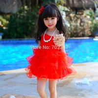 Wholesale New Arrive Girls Dress, big flower waves dress, children girl red gauze dress 5pcs/lot free shipping MK-20