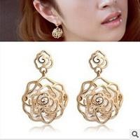 New 2014 Korean Style Fashion Hollow Drop Earrings Rose Flower Crystal Dangle Earrings For Women  ED068