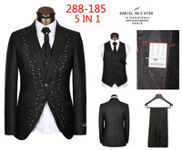 embroidered and diamond on collar groom five pieces men's suits for wedding,vintage tuxedo suits set men male plus size DH288