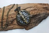 Beautiful Steampunk Backbone pocket watch spine locket pocket watch necklace with Human skeleton pendant,Gift For Friend