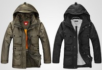 Free shipping/ In the men's down jacket long thickening coat can take off the tank