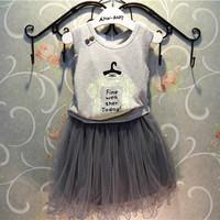 Free Shipping Wholesale (5 Size/Lot) New 2014 Childrens Kids Girls Summer Fashion Leisure Wild Gray Princess Yarn Skirts