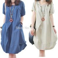 2014 maternity dress plus-size S-XXL Summer fashion Loose linen breathable buttons O-neck Pregnant women's clothes 5 Colors