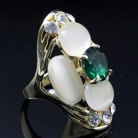 High Quality Clear Crystal 18 K Gold Plated Fashion Big Opal Stone Wedding Ring