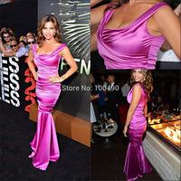 2014 Gorgeous Charisma Carpenter Mermaid Ruched Elegant Long Purple Evening Dress