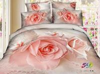 2014 New 3D Pink Rose quilt/duvet cover queen size 100%cotton 4pc Wedding bedding sets bed linen bedclothes set home textile