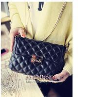 2014 autumn small one shoulder women genuine leather handbags plaid chain mini shoulder bag women messenger bags