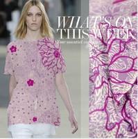 100% pure silk Jian Hongzhou fashion flower print silk satin cloth lilac 19momme