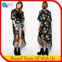 New 2014 Women's Open Stitch Streetwear Tassel Long Designer Rural Style Kimono Cardigan Jackets Outerwear & Coats Free Shipping