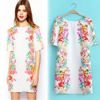 2014 summer new European style printing bilateral positioned behind the V -neck short-sleeved dress